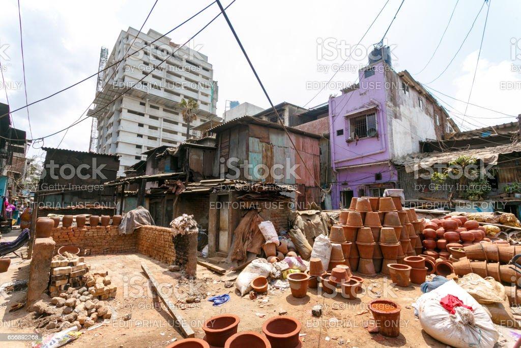 Pottery area, Dharavi slum, Mumbai, India stock photo