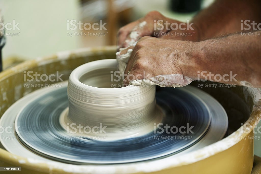 Pottery Being Thrown on Wheel royalty-free stock photo