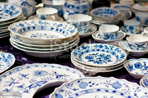 Some plates and pottery in a flea market, Berlin