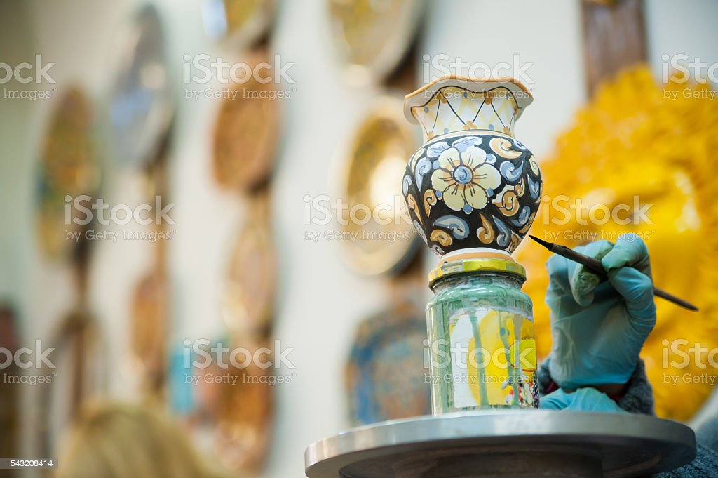 Pottery decorating stock photo