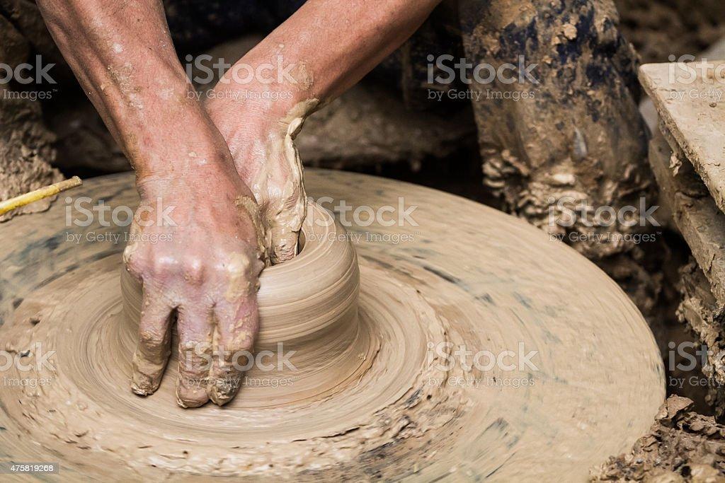 Pottery handmade stock photo