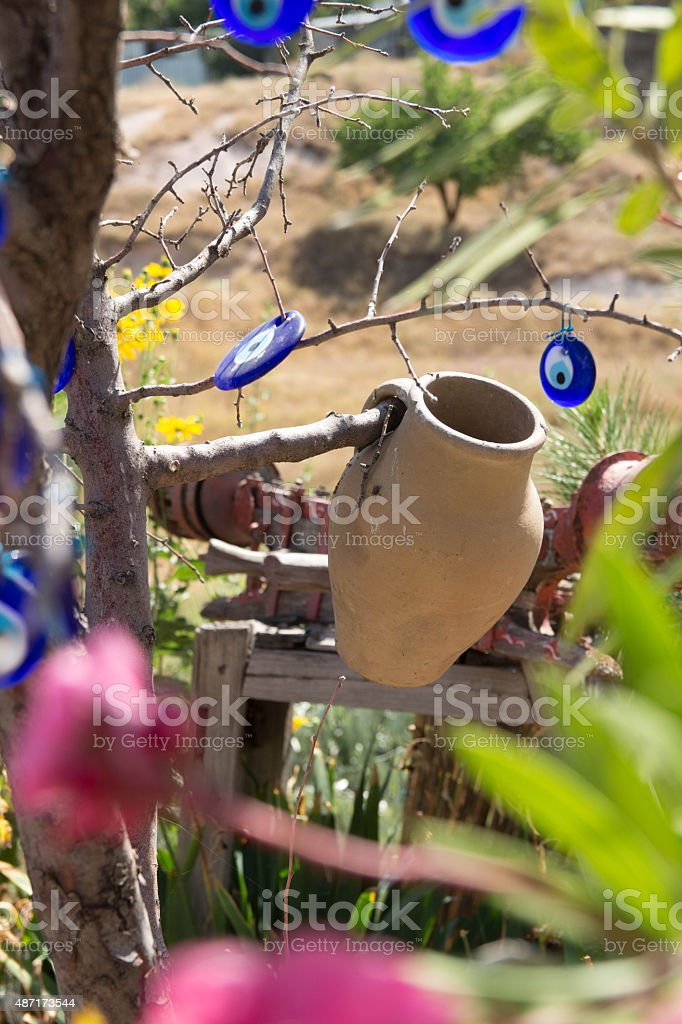 Pottery hanging on Tree in Goreme Valley Cappadocia stock photo