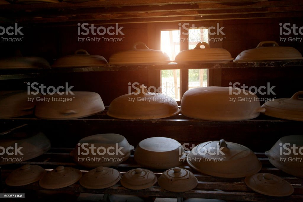 Pottery in a storage stock photo