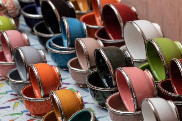 Pottery in Medina, Marrakesh, Morocco. stock photo