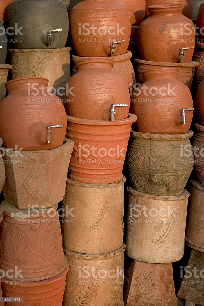 Pottery Indian Clay pots with a Tap royalty-free stock photo