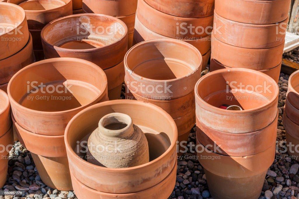 Pottery of handmade stock photo
