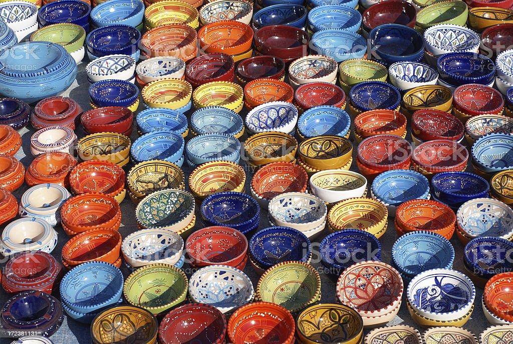Pottery on the market stock photo