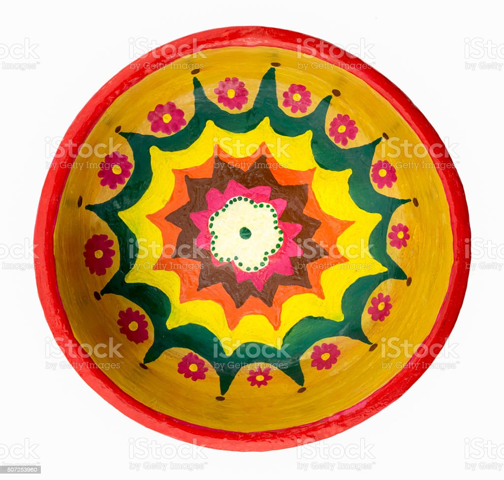 Pottery painted colorful handcrafted plate stock photo
