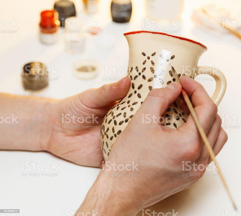 Pottery. Painting pottery. stock photo