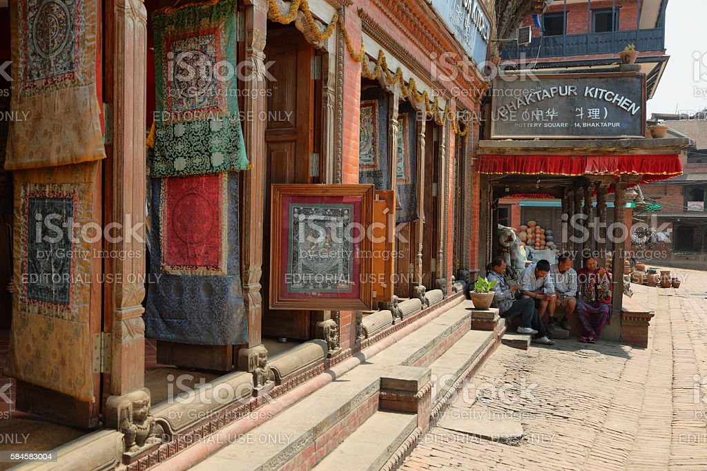 Pottery Square in Bhaktapur town, Nepal stock photo