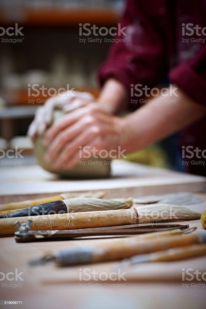 Pottery tool  workroom stock photo