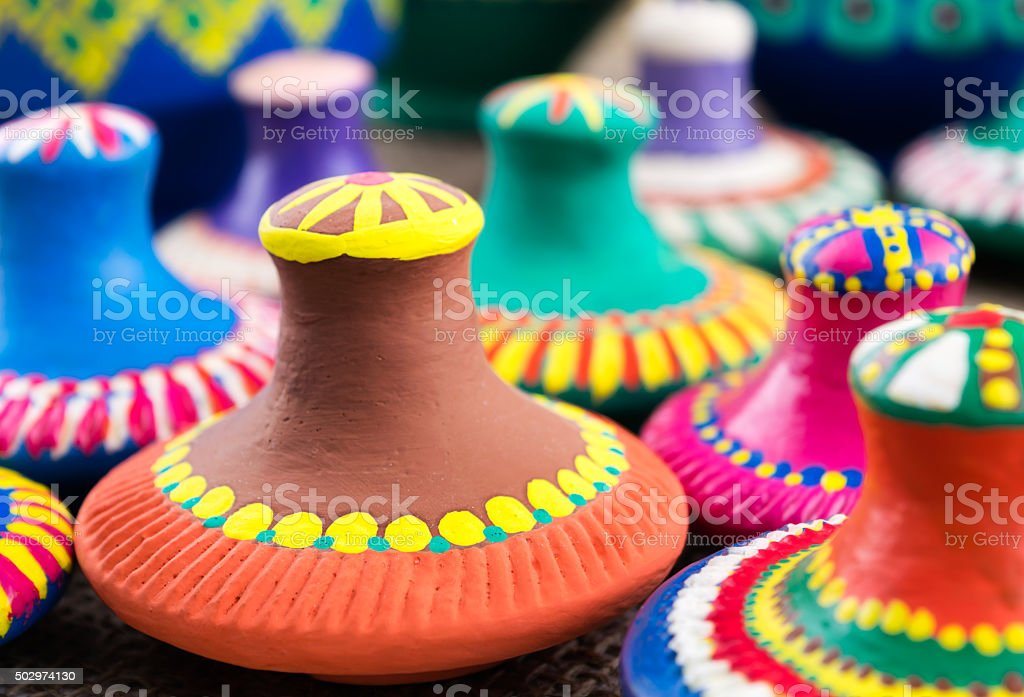 pottery vessels top covers stock photo