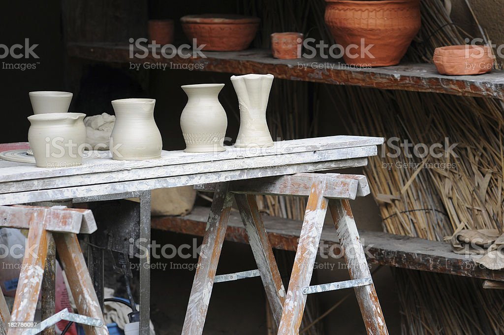 Pottery with Unfired green ware stock photo