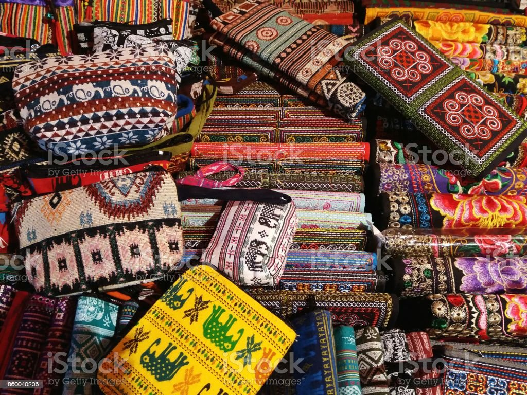 Pouch and purses souveniers from Laos stock photo
