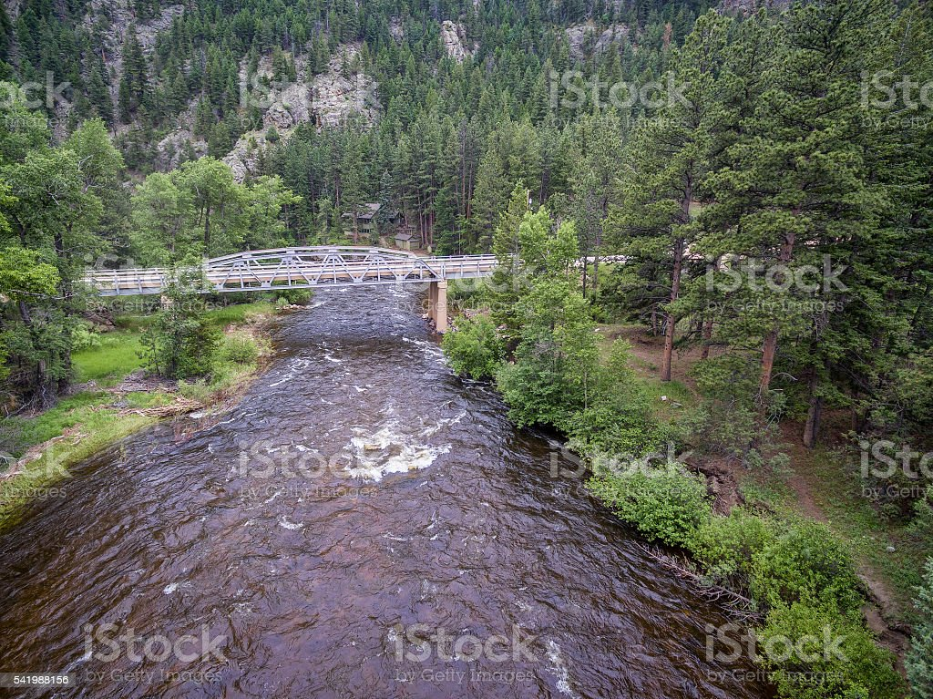 Poudre River aerial view stock photo