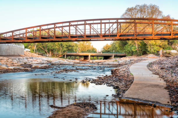 Poudre River and new whitewater park stock photo