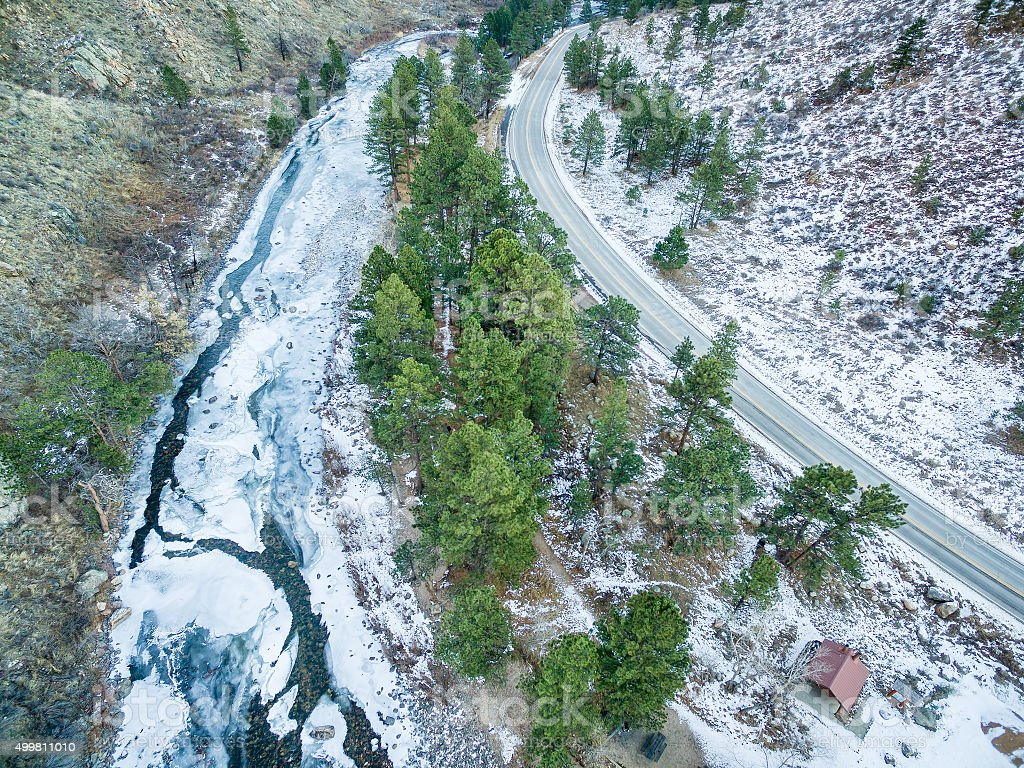 Poudre River Canyon aerial view stock photo