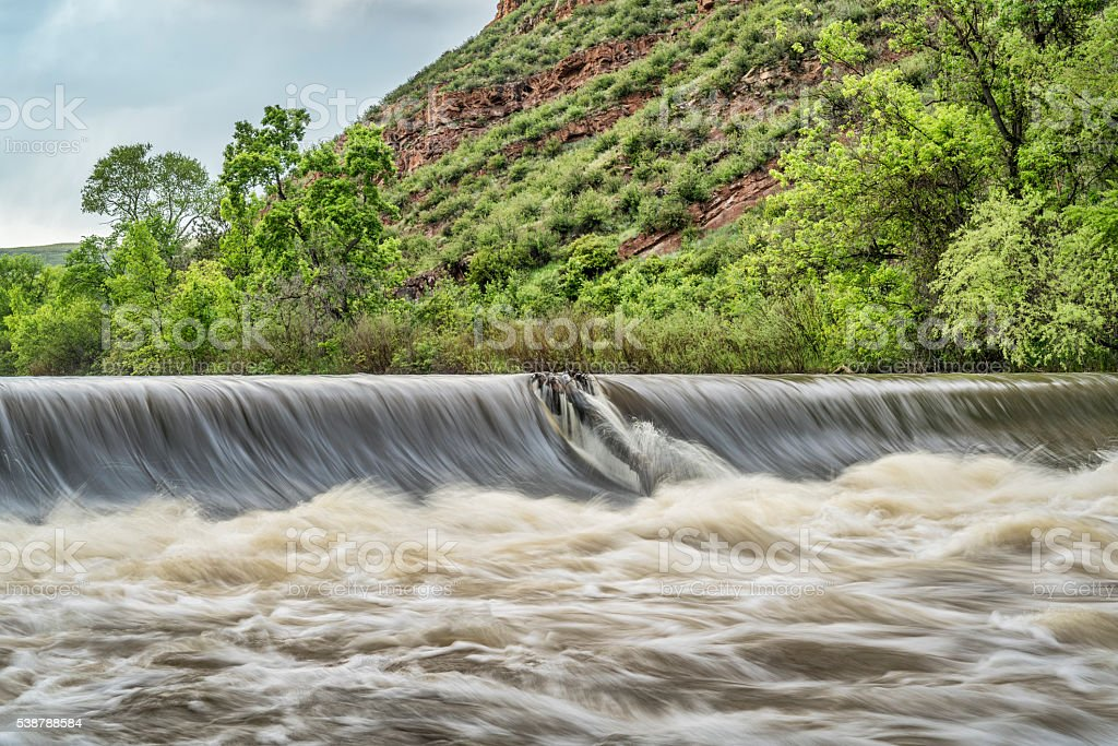 Poudre river diversion dam stock photo