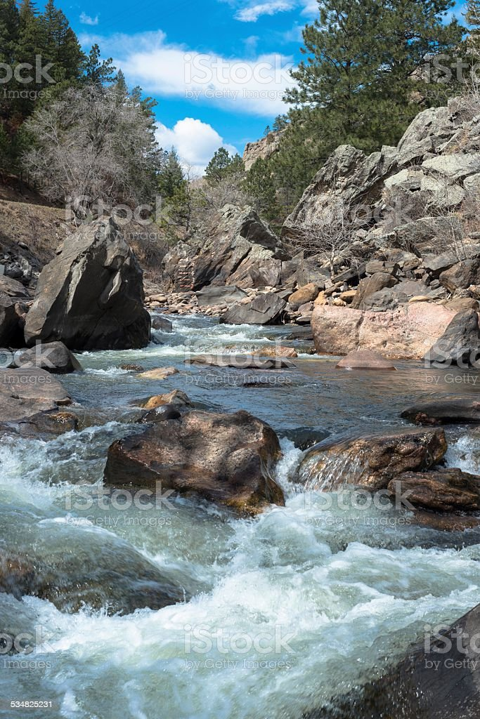 Poudre River, Fort Collins, Colorado stock photo