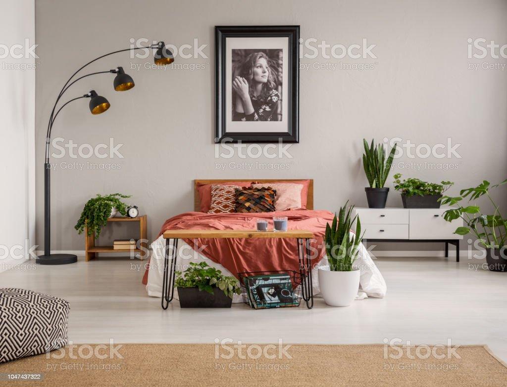 Hocker Auf Teppich Und Pflanzen Vor Roten Bett In Grau Schlafzimmer Innenraum Mit Poster Und Lampe Echtes Foto Stockfoto Und Mehr Bilder Von Bett Istock