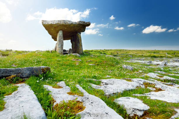 Poulnabrone dolmen, a Neolithic portal tomb, tourist attraction located in the Burren, County Clare, Ireland Poulnabrone dolmen, a Neolithic portal tomb, popular tourist attraction located in the Burren, County Clare, Ireland portal dolmen stock pictures, royalty-free photos & images