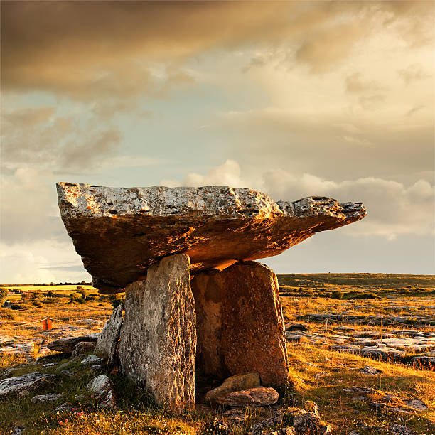 poulnabrone dolmen at sunset - the burren stock pictures, royalty-free photos & images