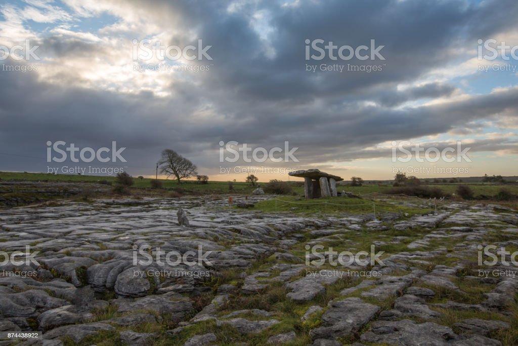 Poulnabrone dolmen in the Burren landscape stock photo