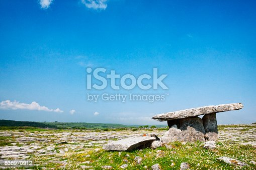 Poulnabrone dolmen Portal Tomb at The Burren National Park in County Clare, Ireland. It dates back to the Neolithic period, probably between 4200 BC and 2900 BC.