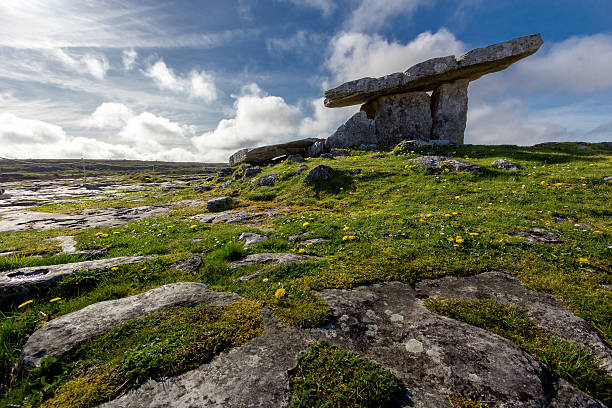 Poulnabrone Dolmen Tomb, Burren, Co.Clare, Ireland. Poulnabrone Dolmen Tomb, Burren, Co.Clare, Ireland. portal dolmen stock pictures, royalty-free photos & images