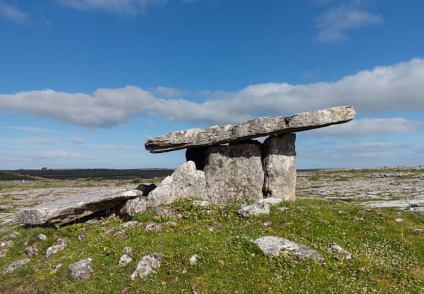 Poulnabrone Dolmen Burial marker from prehistoric times in south west Ireland called Poulnabrone Dolmen portal dolmen stock pictures, royalty-free photos & images
