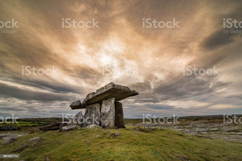 Poulnabrone portal tomb in Ireland stock photo