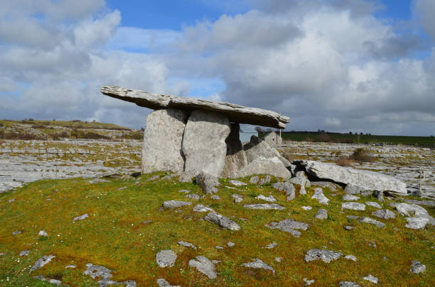 Poulnabrone Portal Tomb near the burren in Ireland Poulnabrone portal tomb found on the burren in County Clare. portal dolmen stock pictures, royalty-free photos & images