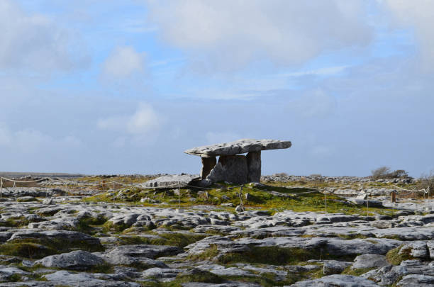 Poulnabrone Portal Tomb near the burren in Ireland Poulnabrone tomb in County Clare Ireland. portal dolmen stock pictures, royalty-free photos & images