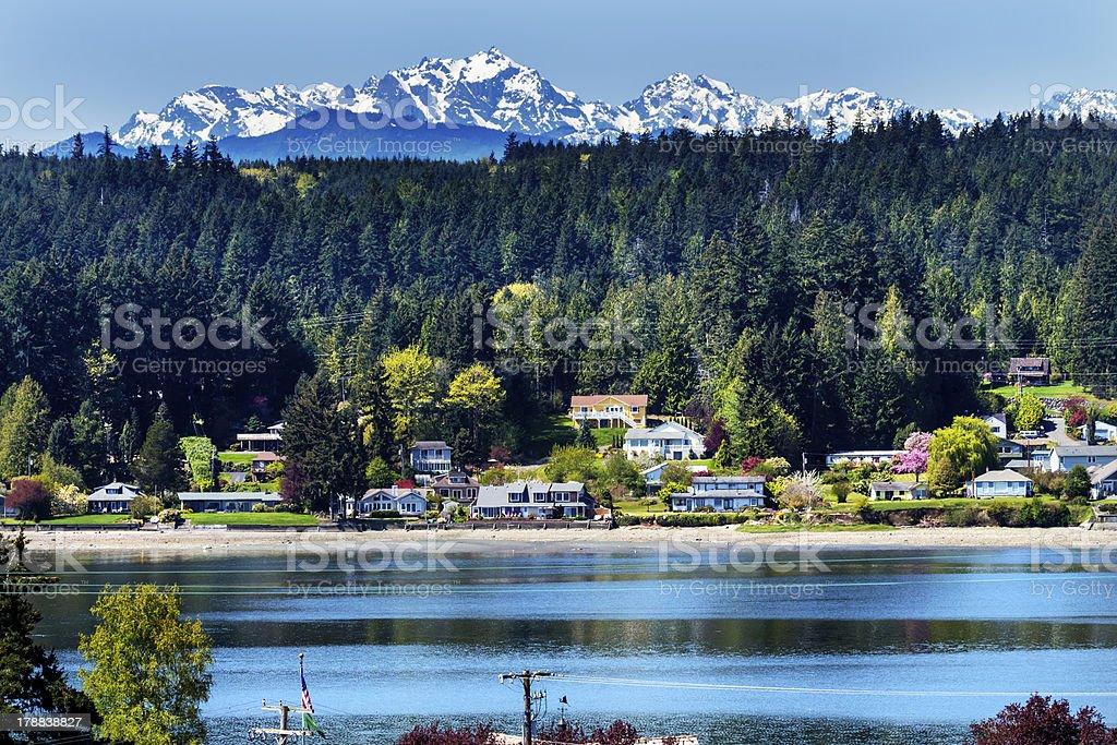 Poulsbo Bainbridge Island Snow Mountains Washington stock photo