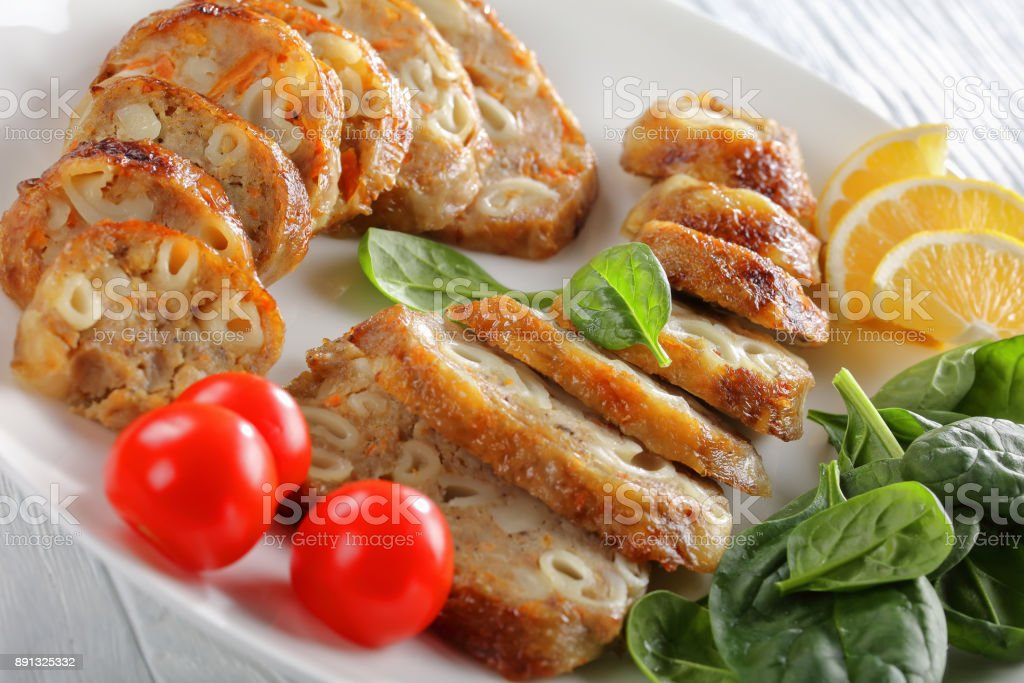 poultry boneless drumsticks stuffed with pasta stock photo