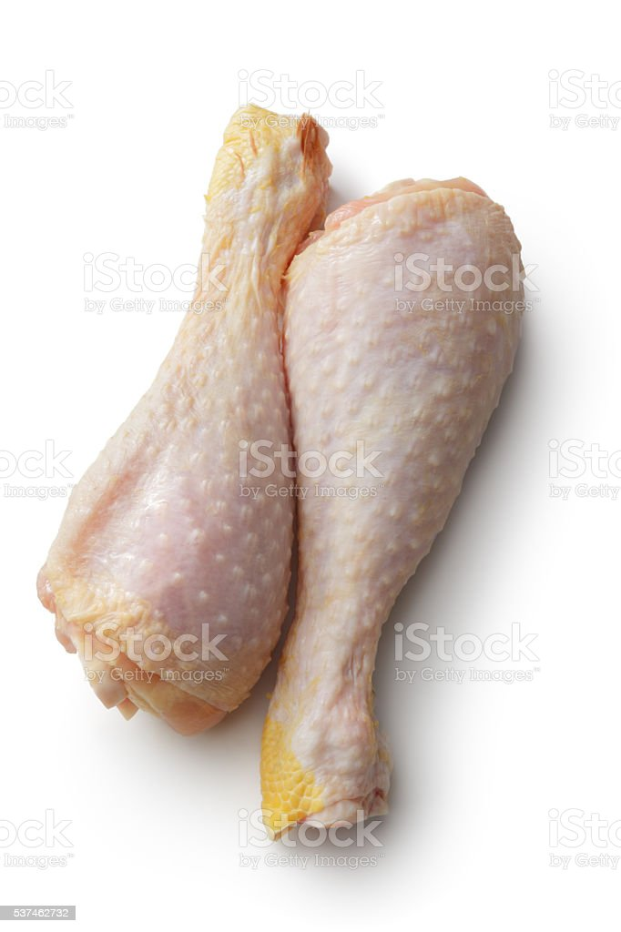 Poultry Raw Chicken Drumstick Isolated On White Background Stock ...
