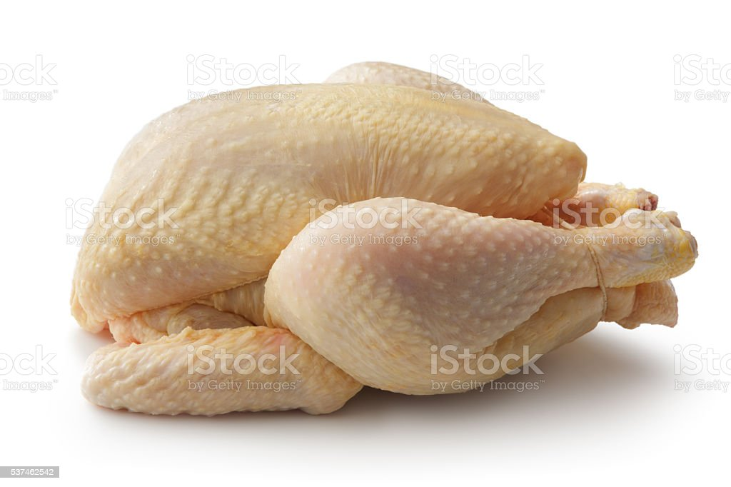 Volailles : RAW Chickenn seul sur fond blanc - Photo