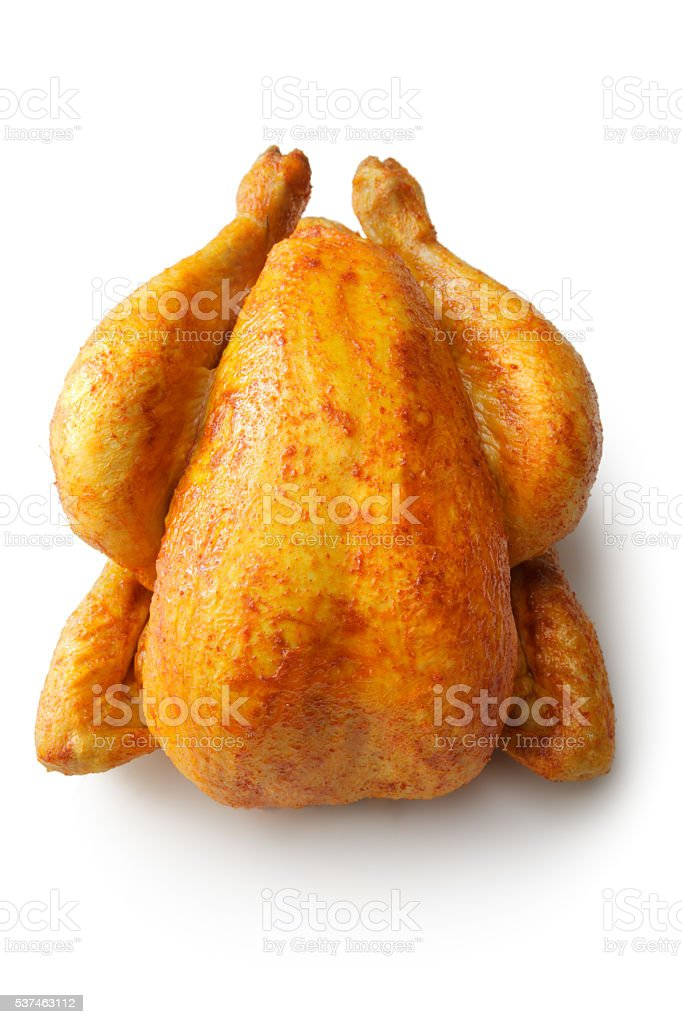Poultry: Roast Chicken Isolated on White Background stock photo