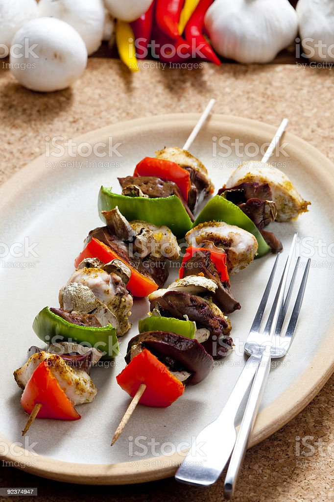 poultry skewers royalty-free stock photo