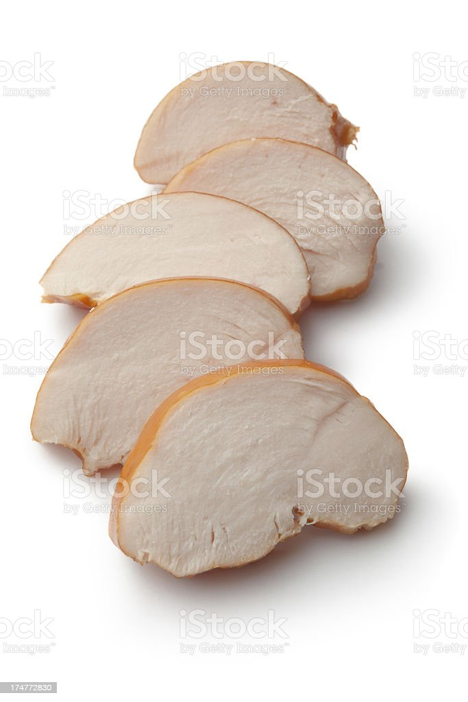 Poultry: Smoked Chicken Fillet Isolated on White Background stock photo