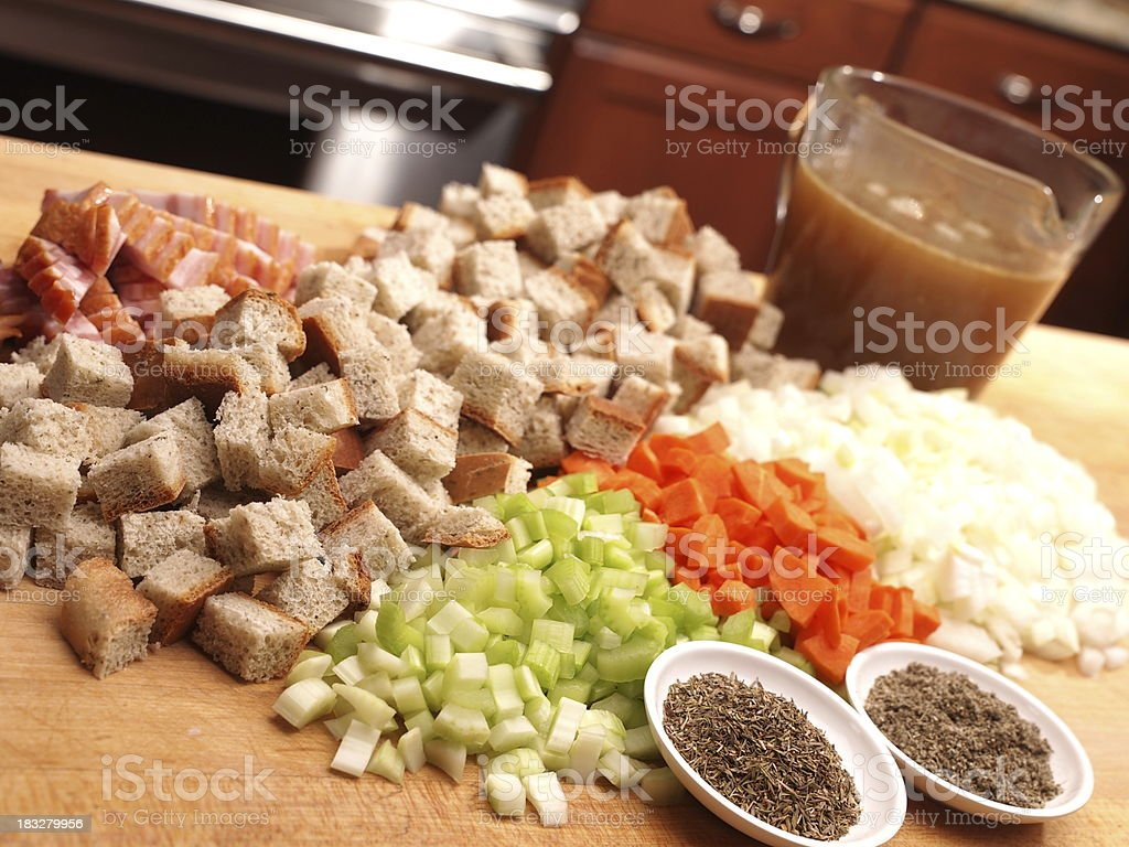 Poultry Stuffing Ingredients stock photo