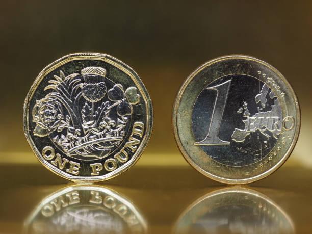 moeda de 1 libra e 1 euro sobre fundo de metal - foto de acervo