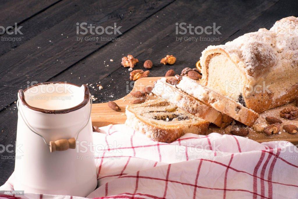 Pound cake and bucket of milk stock photo