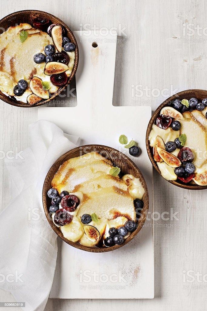 Pound Cake with Fresh Fruit stock photo