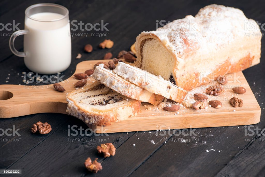 Pound cake with poppy seed and nuts stock photo