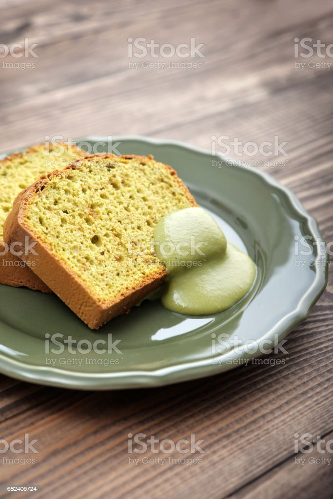 Pound cake with tea matcha royalty-free stock photo