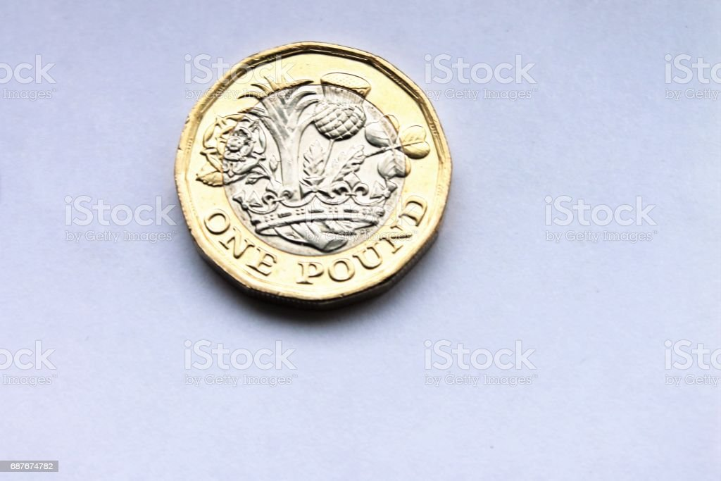 pound coin new design the design was introduced in March 2017 across britain and UK stock photo
