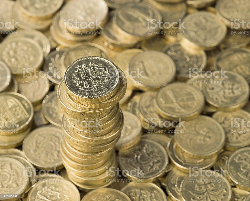 Pound Coin Stack stock photo
