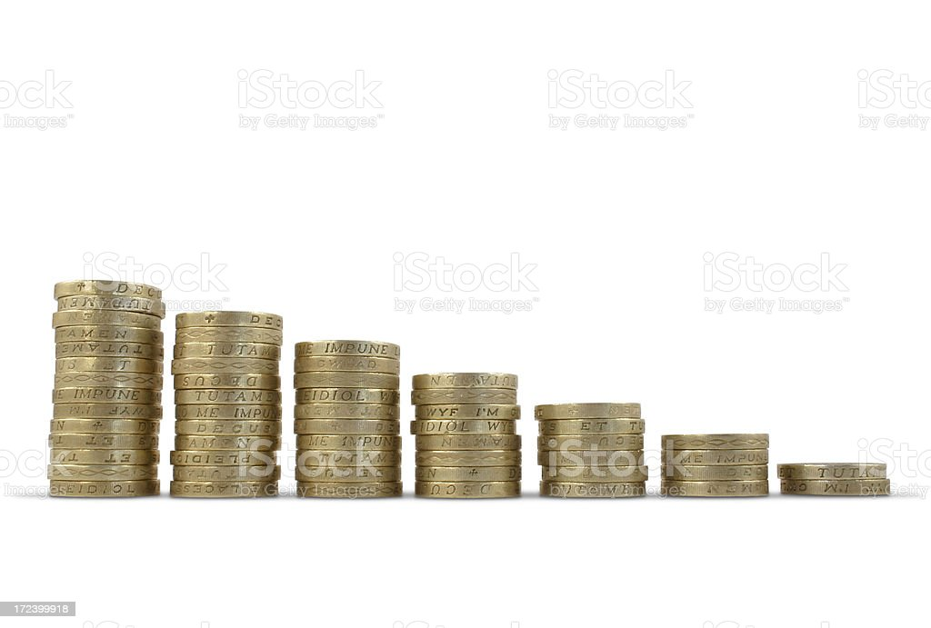 Pound Coin Stacks stock photo