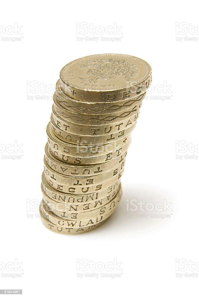 Pound coins on white royalty-free stock photo